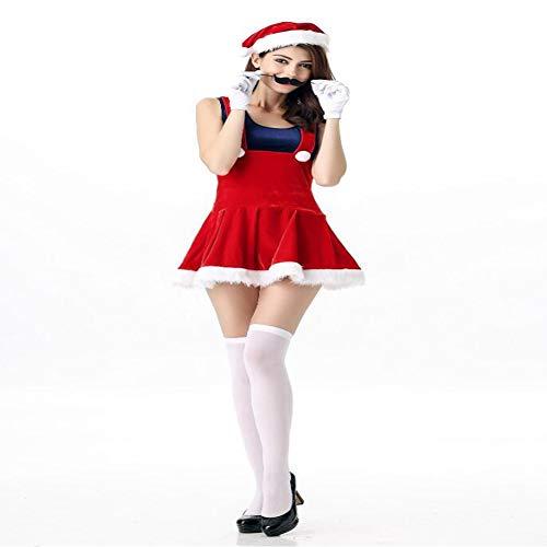CVCCV Mini Weihnachten Uniform Frauen Halloween Mario COS Uniform Mario Spiel Kostüm Polyester Stoff (Rot) (Mario Halloween Spiele)