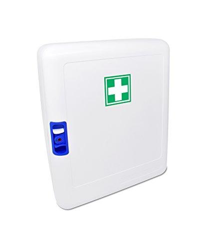 31nISptVlsL - Botiquín Armario de primeros auxilios para pared - con 95 artículos indispensables para realizar curas de emergencia, blanco