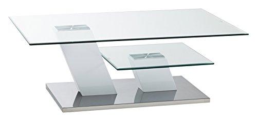 CAVADORE Couchtisch MILTON/moderner Couchtisch in Hochglanz weiß mit Glaspaltten auf 2 Ebenen/115 x 75 x 40 cm (LxBxH) (Eleganz Home Beistelltisch)