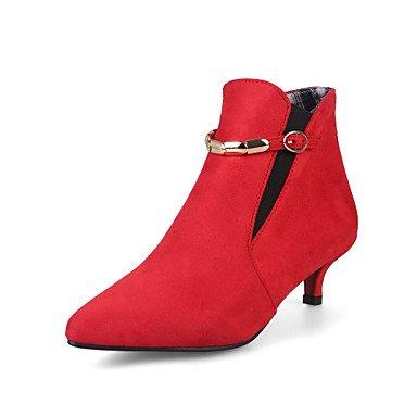 GLL&xuezi Da donna Stivaletti Comoda Finta pelle Autunno Inverno Casual Formale Footing Fibbia Kitten Nero Grigio Rosso Verde 2,5 - 4,5 cm red