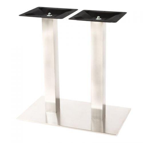 Paddy24 Zweisäuliges Tischgestell aus Edelstahl, fein gebürstet