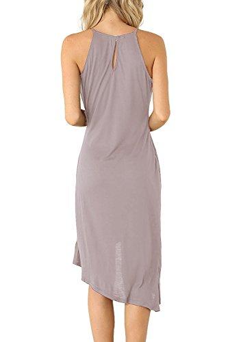 Eliacher Frauen hling und Sommer einfachen Falten Weste Rock Kleid 6070 Hell Grau