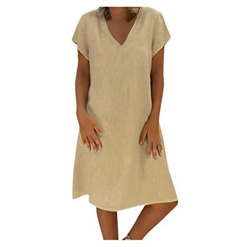 SANFASHION Sommerkleid Leinen Kleider Damen V-Ausschnitt Strandkleider Einfarbig A-Linie Kleid Boho Knielang Kleid Ohne Zubehör