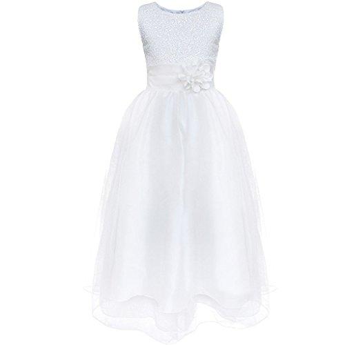 Eagsouni® Kinder Mädchen Prinzessin Lang Kleid Pailletten Blumen Brautjungfer Festlich Partykleid Hochzeit Festzug Kleider Kommunionkleid
