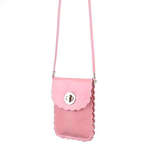 Damen Tasche, Sehr Kleine Umhängetasche Handytasche, Kunstleder, TA-M07 Rosa