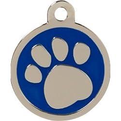 Personnalisé Médaille pour Animal domestique en forme de Patte Bleu (Grand) | SERVICE DE GRAVURE | Médaille pour Chien et Chat Personnalisée avec Design Coloré