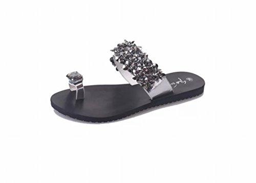 JIA Sandalias de mujer de verano con pies planos, pedrería, sandalias,Plata,40