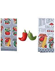 DHE 4Stück Home Grown Canning Küche Salsa Zubehör Bundle, Handtücher mit Chili Salz- und Pfefferstreuer - Canning Salsa