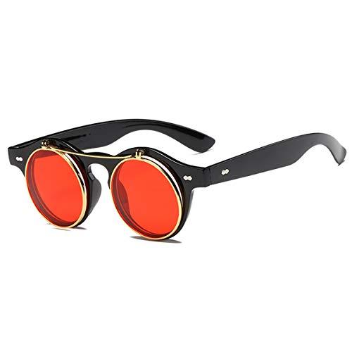 Sonnenbrillen Fashion Round Steampunk Flip Up Sunglasses Men Women Vintage Double Layer Lens Classic Sun Glasses Oculos De Sol UV400 Black Red