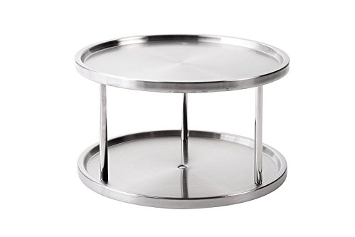 Juvale Lazy Susan Turntable Kitchen Organiser Spices Tableware Food Service - 27cm Stainless Steel 2 Tier-server