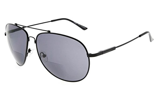Eyekepper große bifokale Sonnenbrille Höflicher Stil Sun Leser mit biegsamer Erinnerung Brücke und Arm (Schwarz Rahmen Grau Linse,+2.50)