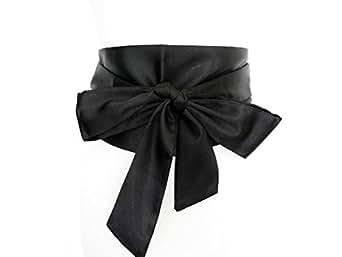 ceinture large en satin noir avec un gros noeud kimono geisha soirée