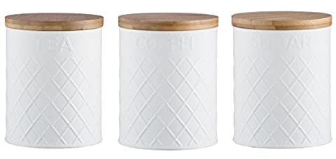 Typhoon Embossed White Tea Coffee and Sugar Storage Canisters