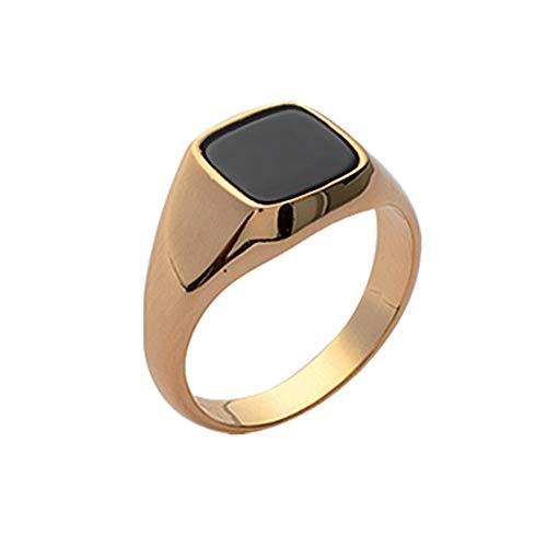 ISADY - Simon Gold - Herren Ring Damen Ring - Siegelring - 18 Karat (750) Gelbgold - Imit. Onyx Schwarz - T 56 (17.8)