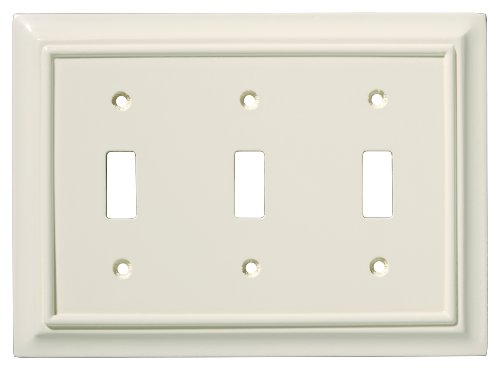 BRAINERD 126448 Wood Architectural Triple Toggle Switch Wall Plate / Switch Plate / Cover, Light Almond by Brainerd