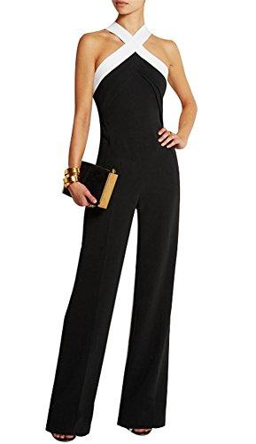 Mujer Fiesta Mono Vestir sin Mangas Ladies Jumpsuits para Mujer Going Out Color Bloque Cruzar Pantalones Largo Mono Playsuits Negro