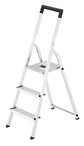 Hailo L40 BasicLine Alu-Sicherheits-Stehleiter, 3 Stufen, EasyClix, schwarzer Haltebügel, Eimerhaken, made in Germany, 8140-307