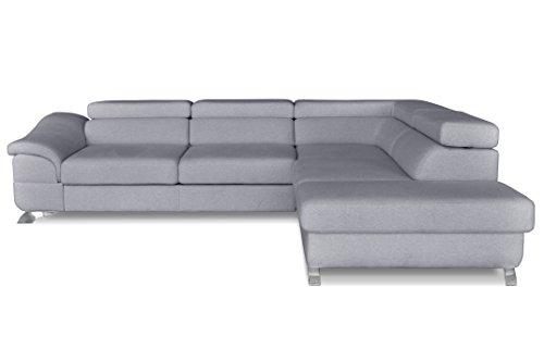 Windsor & Co Droit Convertible Canapé d'Angle, Tissu, Gris Clair, 272 x 219 x 85 cm