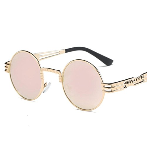 Xshuai Neue stilvolle Frauen Retro runde Gläser Unisex Anti-UV Mode Aviator Spiegel Objektiv Reise Sonnenbrille (A/B/C/D/E/F/G/H/I/J/K ) (Aviator Zähne)
