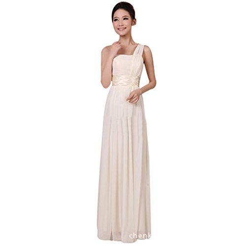 BOMOVO Lang Chiffon Herz-Ausschnitt Abendkleid Ballkleid Brautjungfernkleid Beige