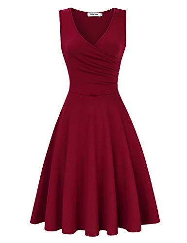 Women's Wrap Skirt V-Neck Elegant Vintage A-Line Skirt,Ärmellos Weinrot,M -