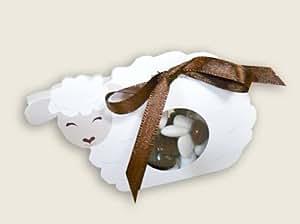lot de 5 - BOITE A DRAGEES BAPTEME MOUTON BALLOTIN - pour baptême mariage communion - ballotin à dragées design et moderne
