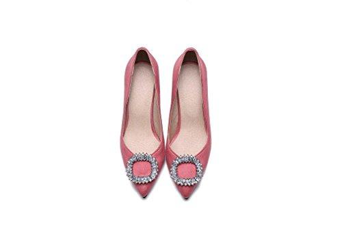 Beauqueen Pompe primavera e l'estate tacco alto delle donne Faux Gioielli scamosciata Toe Shallow Femminile banchetti Giallo Rosa Nero pattini casuali Europa Size 32-43 Pink
