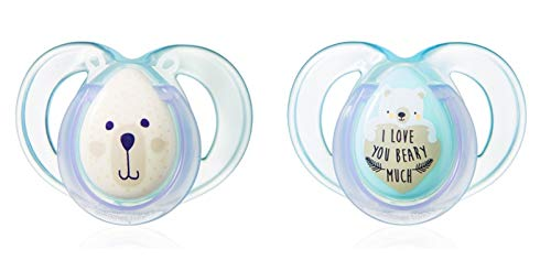 """TOMMEE TIPPEE""""NIGHT TIME""""- 2x Physiological Silicone Pacifiers Dummies Soothers (6-18m)"""