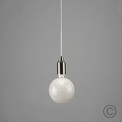 Modern Satin Nickel Ceiling Rose / Braided Flex Cord Lamp Holder Pendant Light Fitting - With 1 x Designer 3w LED ES E27 Bling Glitter Sparkle Effect