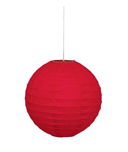 Unique party 64245 - lanterna rotonda in carta rossa, 25 cm
