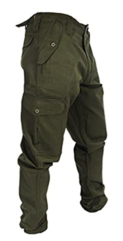 """WWK Mens Army Combat Work Trousers Pants Combats Cargo - Olive - 36"""""""