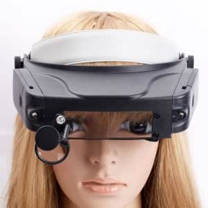 LED Head-wearing Multiple Magnification Magnifier With Shadow Shield Black