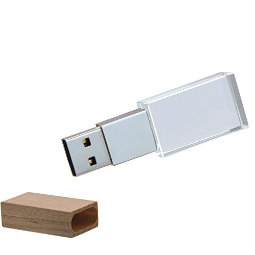 Uflatek USB-Flash-Laufwerk 64 GB Kristall Memory-Stick Wasserdicht USB Disk Pendrive mit Holz Deckel mit Blau-LED Beleuchtung