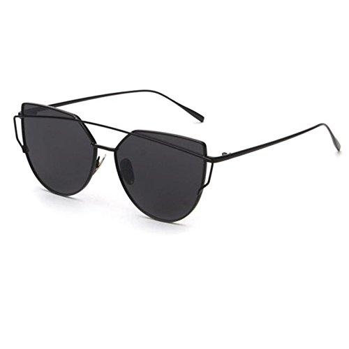 Italily -occhiali da sole donna moderni fashion a specchio occhio di gatto lenti polarizzate occhiali da sole cat eye per donna (black)
