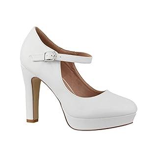 Elara Damen High Heels | Bequeme Spangen Pumps | Riemchen Vintage | Chunkyrayan | E22320 White-39