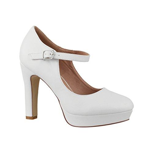 Elara Damen High Heels | Bequeme Spangen Pumps | Riemchen Vintage | Chunkyrayan | E22320 White-38