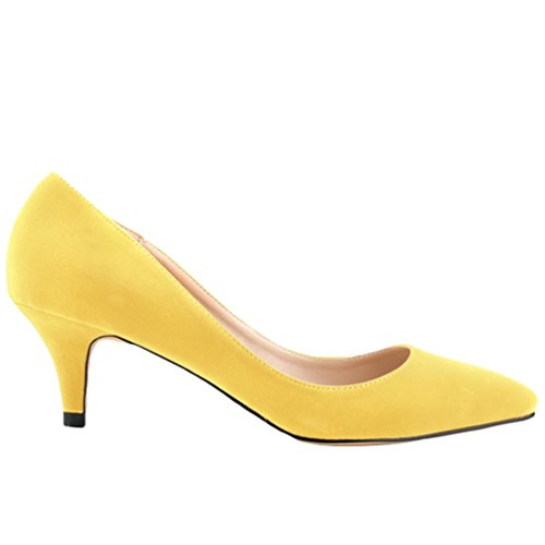 WanYang Mujer Moda Clasico Bajo Tacón Bajo de Aguja Pointed Toe Trabajo Vestir Zapatos de Tacón