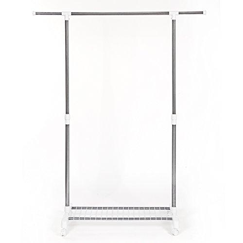 Songmics appendiabiti attaccapanni in acciaio porta abiti a rotelle con ruote altezza larghezza regolabile stand stender llr02w