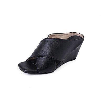 Zhenfu Femmes Printemps Eté Sandales Comfort Pu Casual Wedge Heel Noir