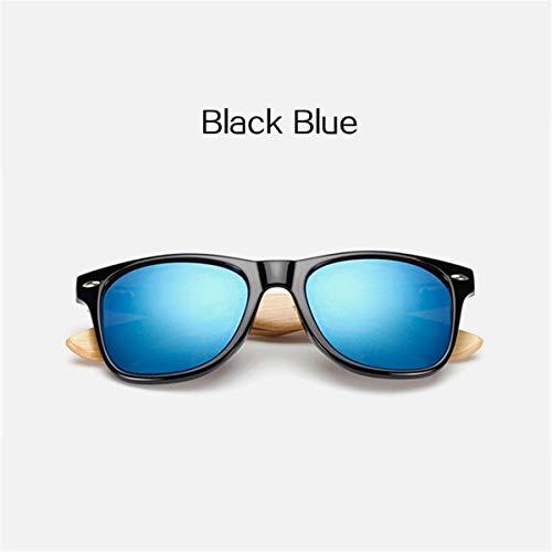 FGRYGF-eyewear Sport-Sonnenbrillen, Vintage Sonnenbrillen, Bamboo Sunglasses For Men Women Spectacles Vintage Wood Sun Glasses Male Wooden Legs Glasses Black Blue