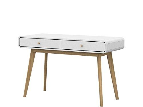 Loft24 Carmen Schreibtisch Bürotisch Computertisch PC Tisch Konsolentisch Skandinavisches Design 120 x 78,6 cm (weiß/Natur)