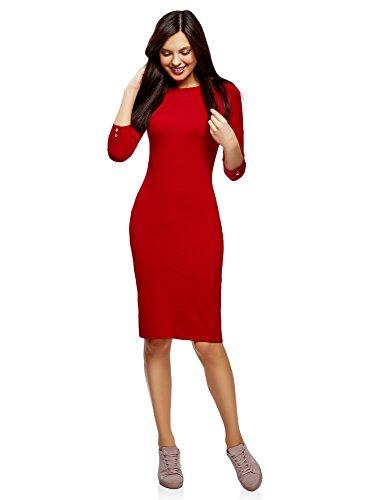 Oodji ultra donna abito aderente con scollo a barchetta, rosso, it 42 / eu 38 / s