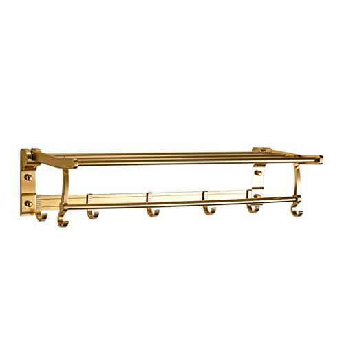 Uioy Handtuchhalter-Verdickungsraum Aluminium Badezimmer Wand hängen faltbare Handtuchhalter (Farbe : Gold) -