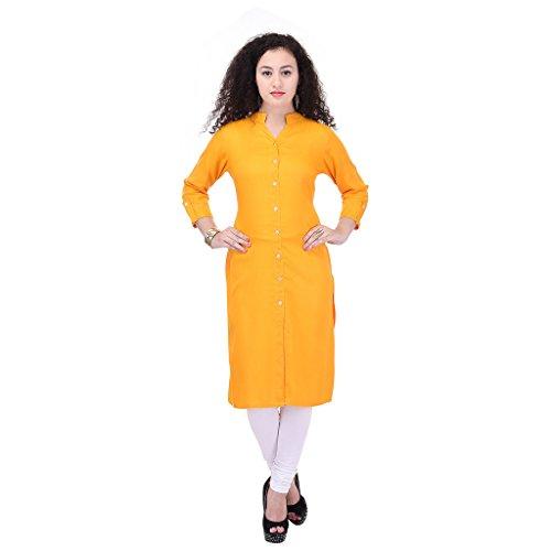 Beautiful Rayon Plain Yellow&Yellow Color Kurti