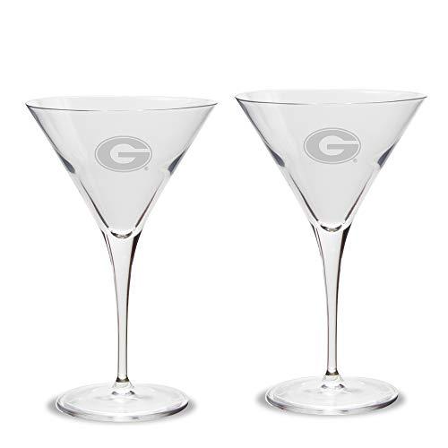 NCAA Georgia Bulldogs Luigi Bormioli Titanium Martini Glass - Set of 2, Clear, 10 oz Red Martini-glas