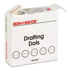 Adhesive Drafting Dots w/Dispenser, 7/8in dia, White, 500/Box, Sold as One Box