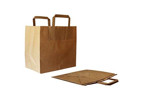 Papiertragetaschen mit Flachhenkel innen, Kraft braun, 80 g/qm, 26 + 17 x 25 cm (250 Stück)