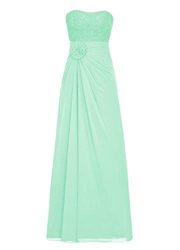 Dresstells Damen Abendkleider Bodenlang Strapless Homecoming Kleider Mintgrün