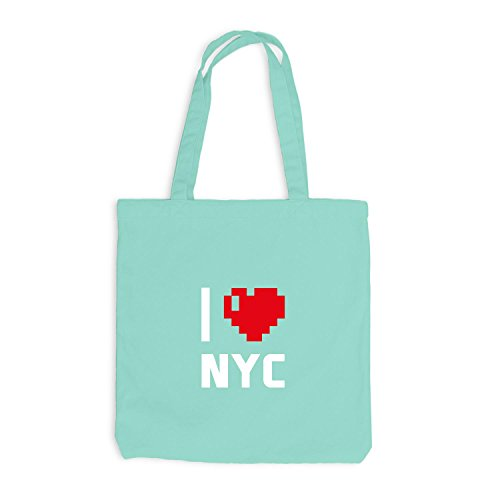 Jutebeutel - I Love NYC - USA Reisen Herz Heart Pixel Mint