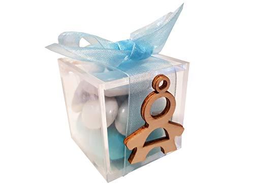 Irpot 24 scatoline plexiglas cubo con decorazioni in legno nastro organza bigliettini (bambino 1130045, celeste)